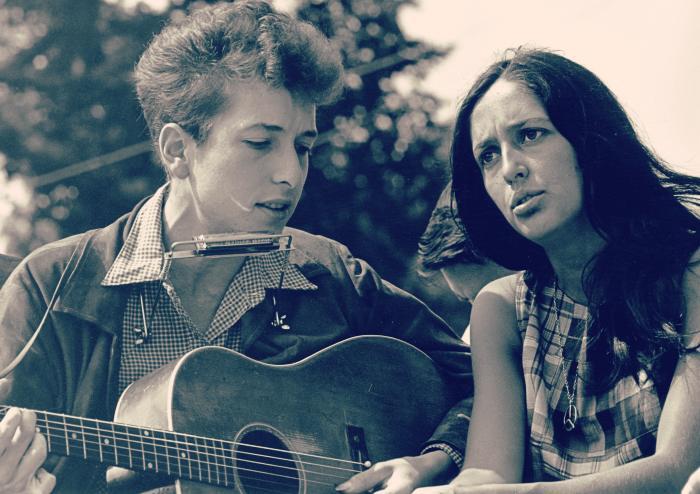 Bob Dylan y Joan Báez principios años 60 resurgir Folk Rock